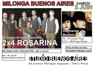 2x4 rosarina, tango paris, milonga, Cours tango paris, initiation tango
